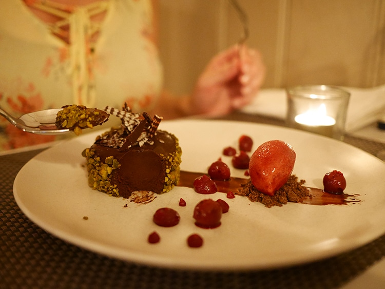 Rose & Crown, food pub review, Cuckfield, Sussex, Dessert _ Dark chocolate and cherry marquise, pistachio, cherry sorbet