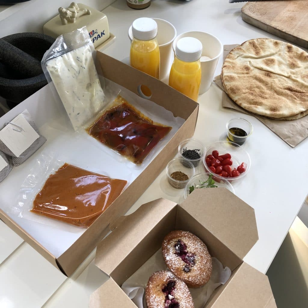 ingredients for a brunch box laid out on a table