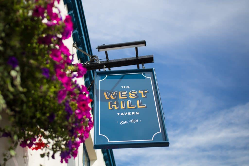 The West Hill sign. Dog friendly pubs brighton