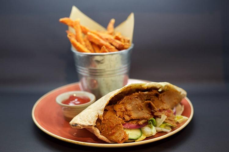 VBites pitta with chips, Brighton cafe, vegan, The Lanes