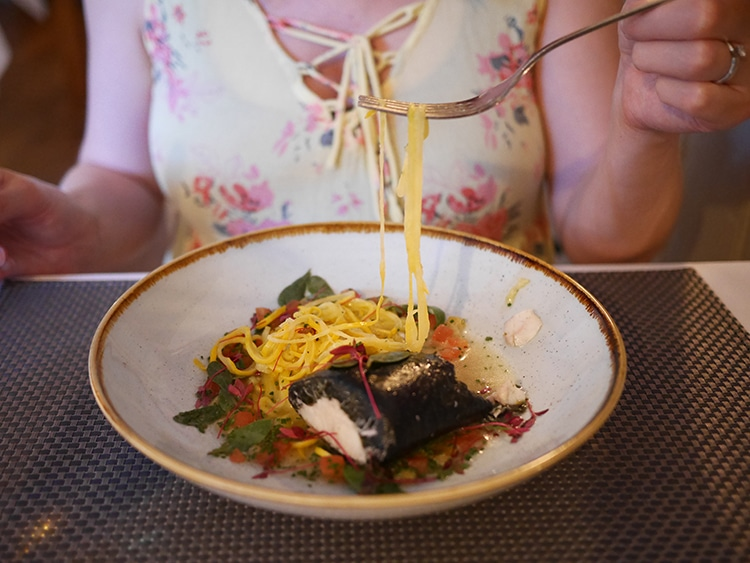 Rose & Crown, food pub review, Cuckfield, Sussex, Poached sea bass, courgetti, tomato essence