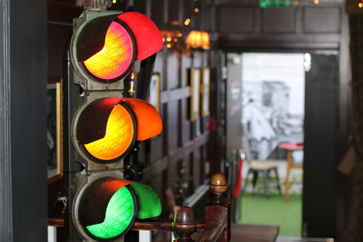 traffic light decor at the old albion Pubs in Hove