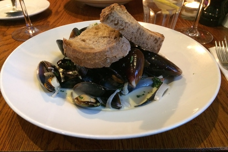 moules mariniere at the house restaurant
