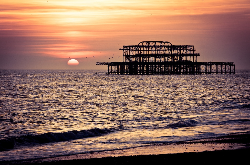 West Pier sunset in Brighton by Zed.Cat (Flickr) - West Pier Pizzeria Brighton