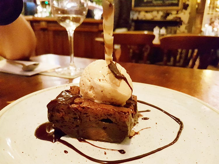 Chocolate brownie at The Plough Inn