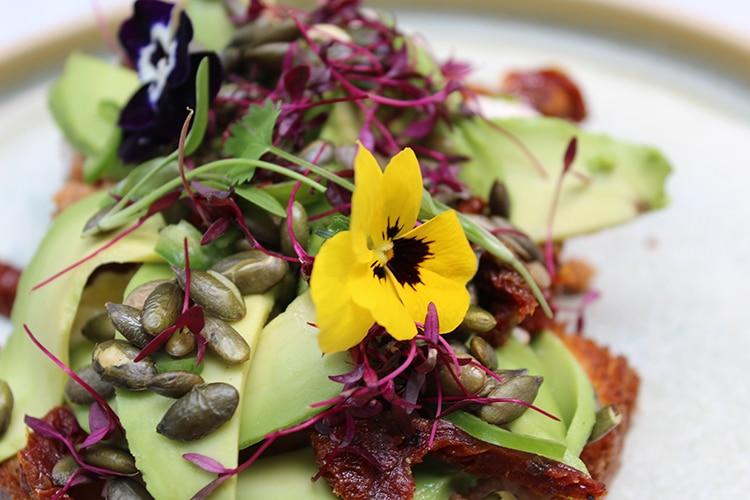 edible flowers, ingredients, brunch review, Kemptown, Brighton, Red Roaster
