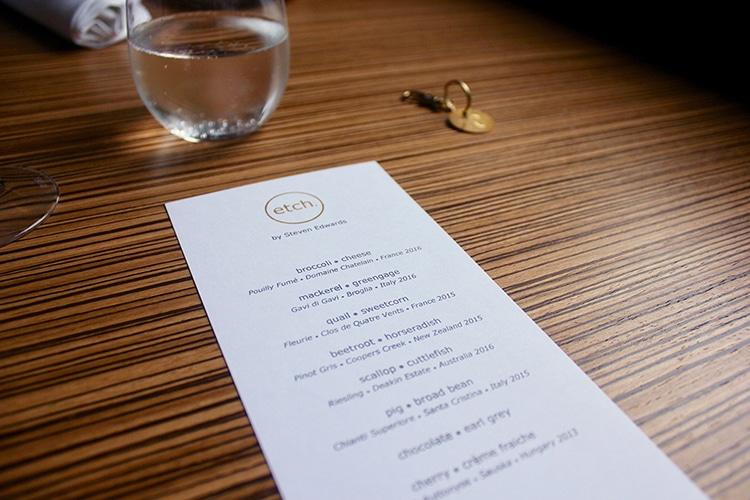 menu, Etch, restaurant, fine dining Hove