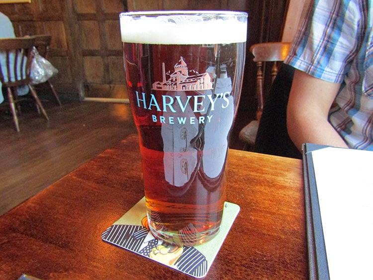 A pint of Harvey's Ale at The Plough Inn