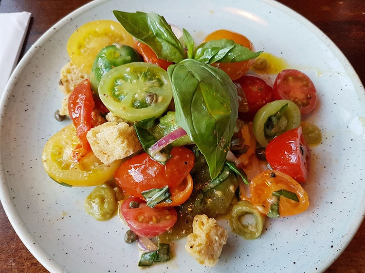 Mixed tomato salad at The Plough Inn