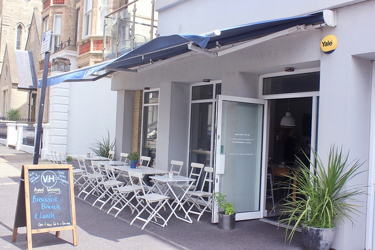 outside seating at V&H cafe in Hove