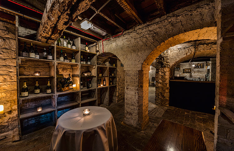 Private dining in the wine cellar at Steak on Sea