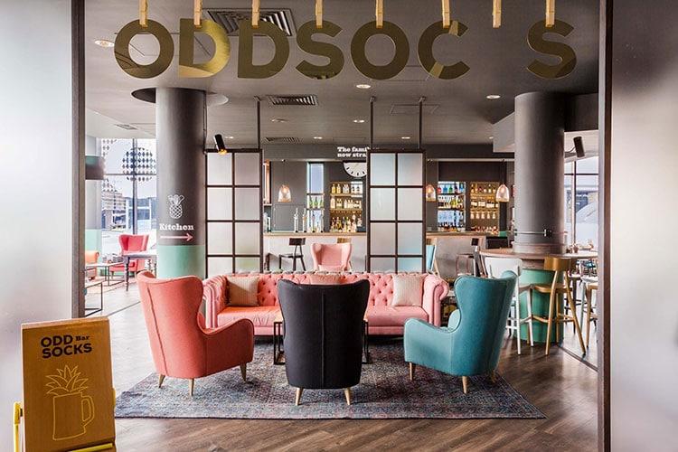 Hotel Restaurants Brighton, interior at Oddsocks at Jury's Inn
