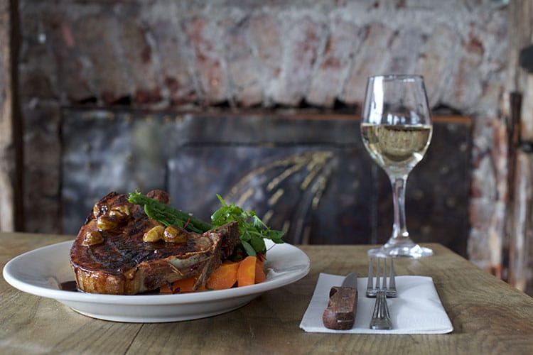 pubs with fires, meat & vegetables dish and wine
