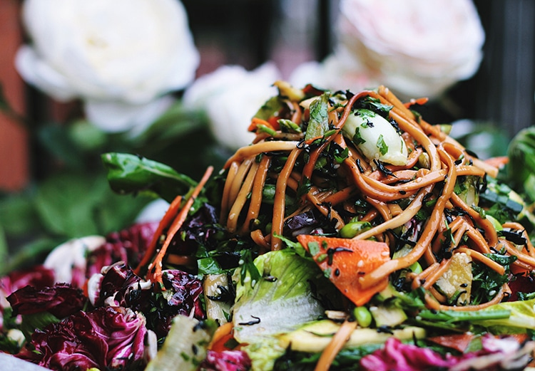 Packed lunches, noodles with vegetables