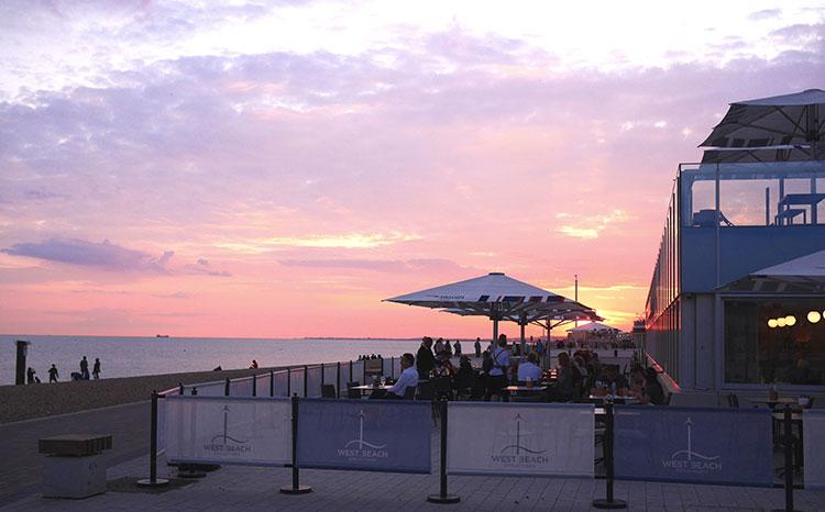 Brighton sunset at BAi360 and West Beach Bar & Kitchen - Fish and Chips Brighton