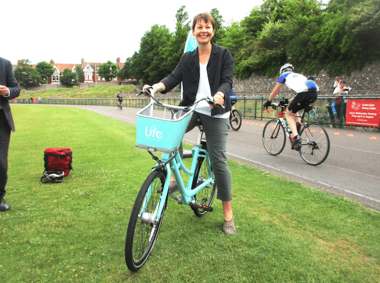 Brighton Bike Share & Caroline Lucas. Picture via Bricycles