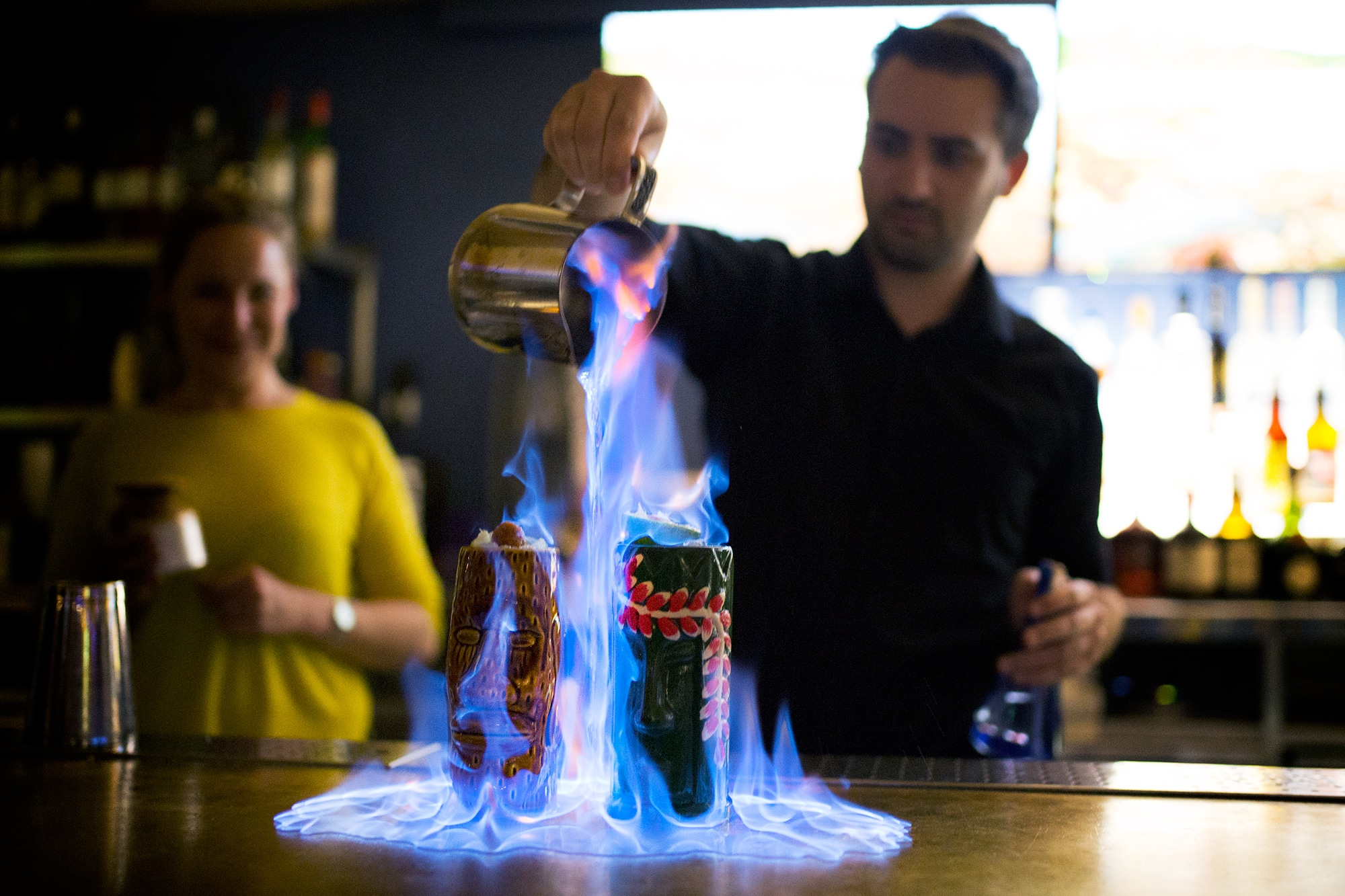 cocktails on fire at merkaba brighton
