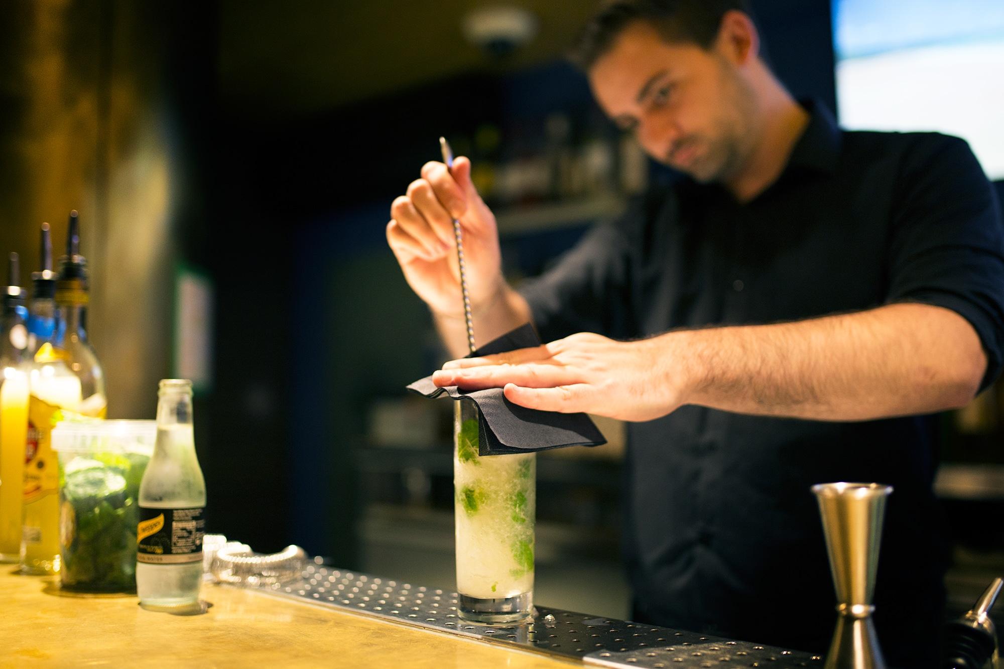 making cocktails at merkaba