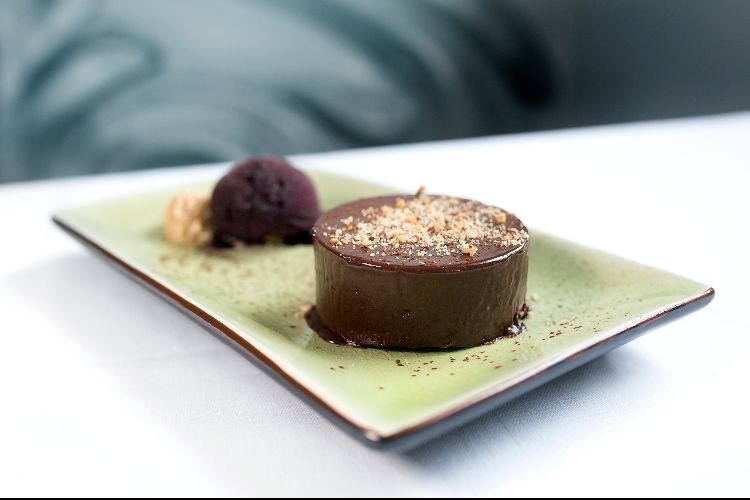 Praline Mousse and blackcurrant sorbet at Steak On Sea