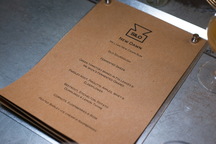 menu for new dawn dinner at silo