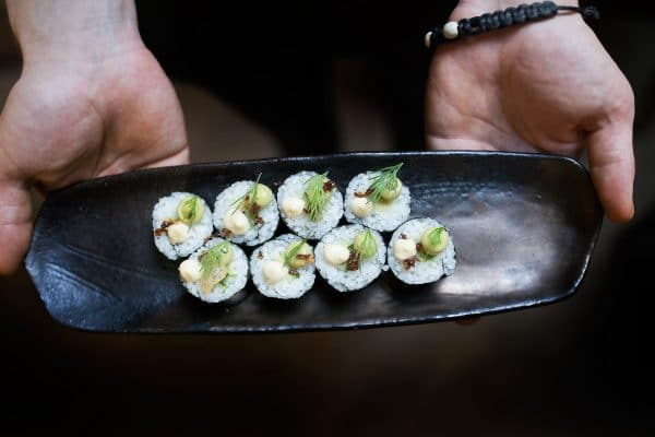Sushi dish held by waiter - Third Avenue in Hove