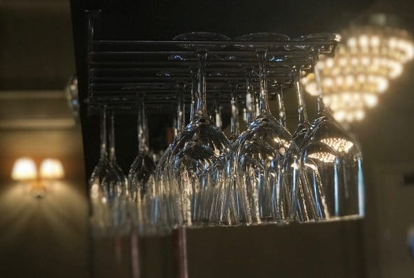 Glasses above the bar - Third Avenue in Hove