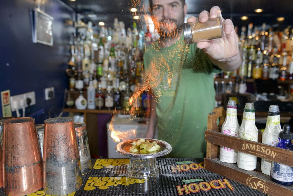 lighting up cocktails at Twisted Lemon Brighton