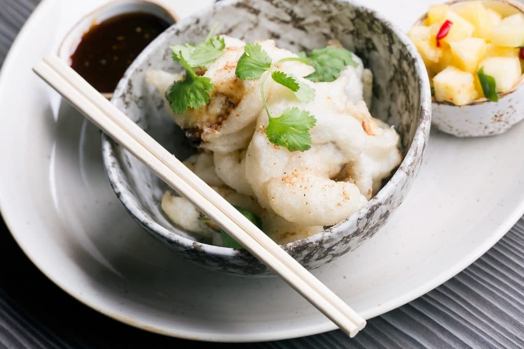 Vegetable tempura salsa at Food For Friends