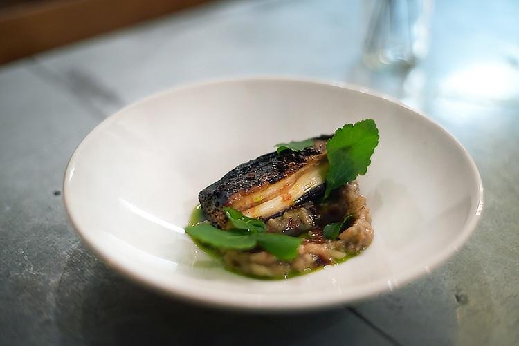 vegan review, barbequed aubergine starter