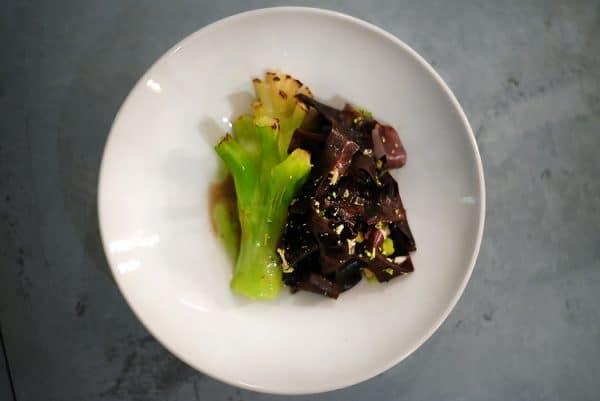 vegan review, broccoli stalk and seaweed