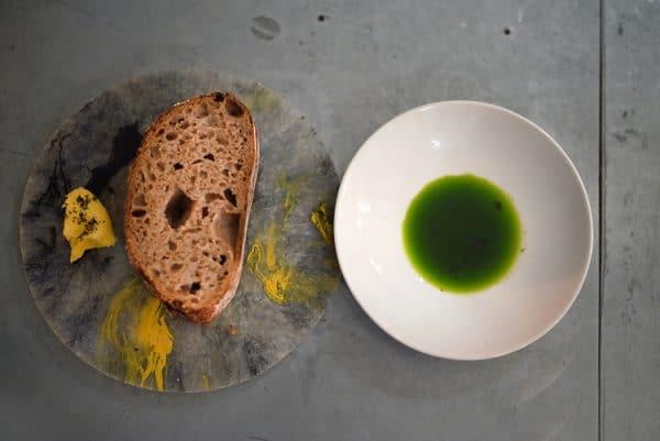 vegan review, fresh bread and garlic herb oil