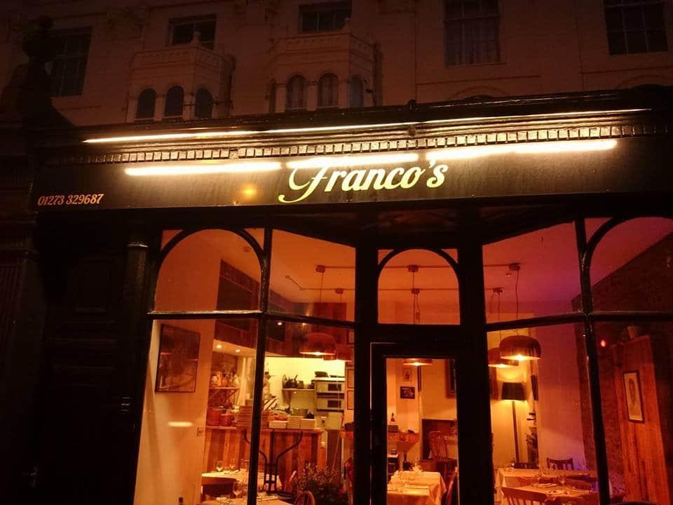 Outside Franco's Restaurants Brighton - Italian Restaurant Brighton