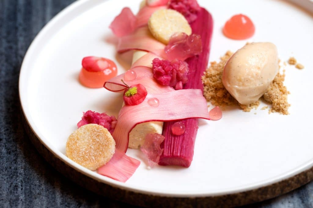 rhubarb dessert at coal shed london