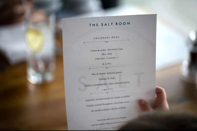 Childs Menu at The Salt Room Brighton