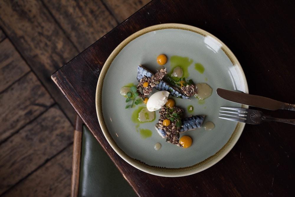 Fish dish on table