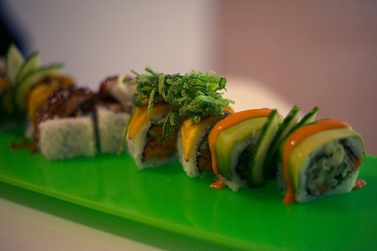 platter of sushi at tropical sushi