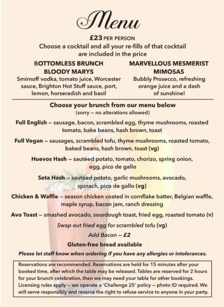 bottomless brunch menu