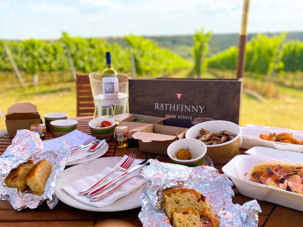 A table full of food overlooking a vineyard