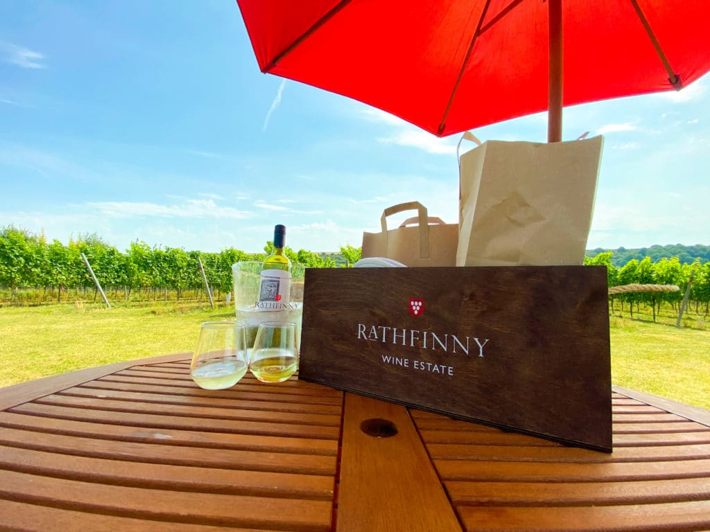 A table in the vineyard at Rathfinny Wine Estate