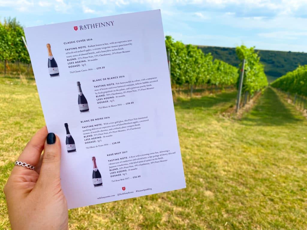 Rathfinny Tasting Rooms wine menu