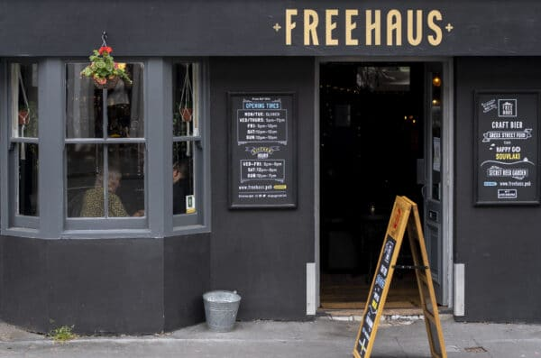 grey painted exterior of the Freehaus