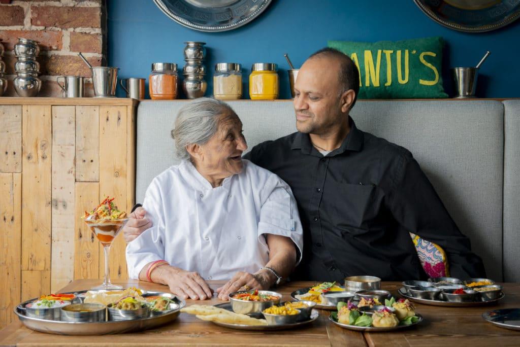 Naimesh and his mother Manju at Manjus Brighton
