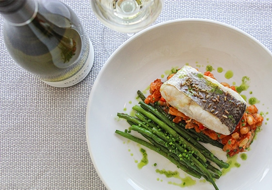Fish and French beans at Bolney Wine Estate