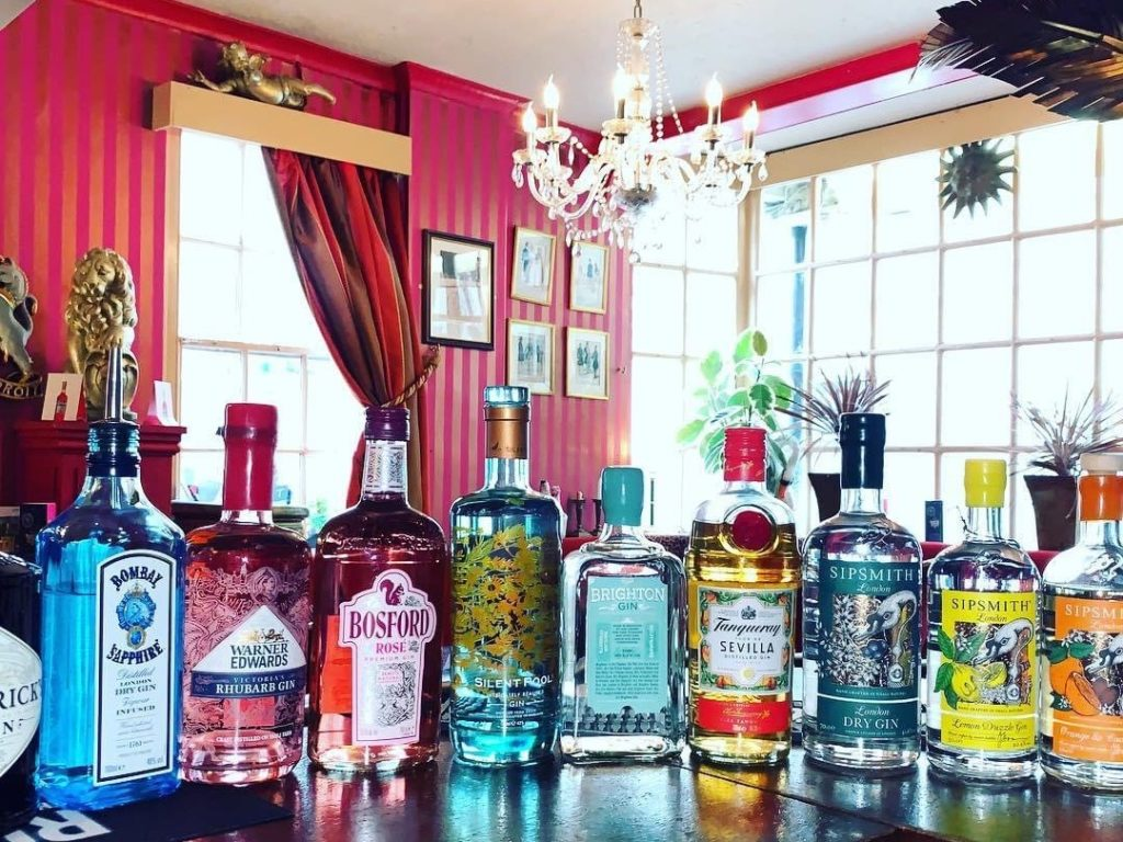 Gin selection at The Regency Tavern Brighton