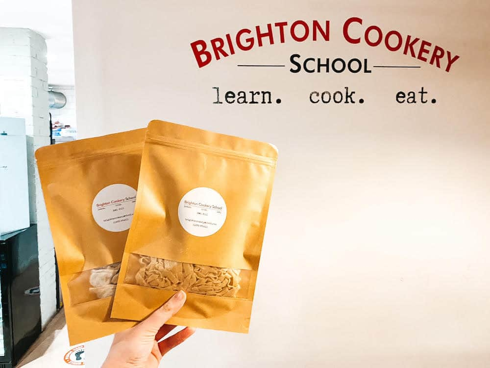 Bags of fresh pasta to take home from Brighton cookery school