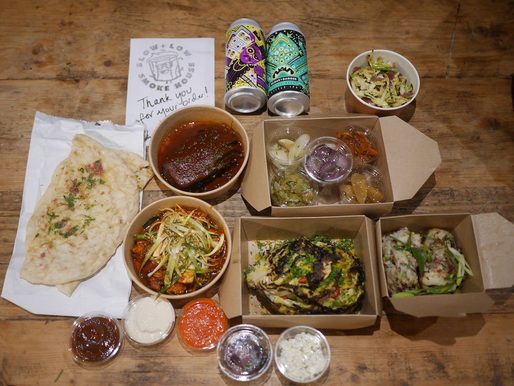 The Cloak Room fine dining at home takeaway. A meal in craft boxes with sides and breads