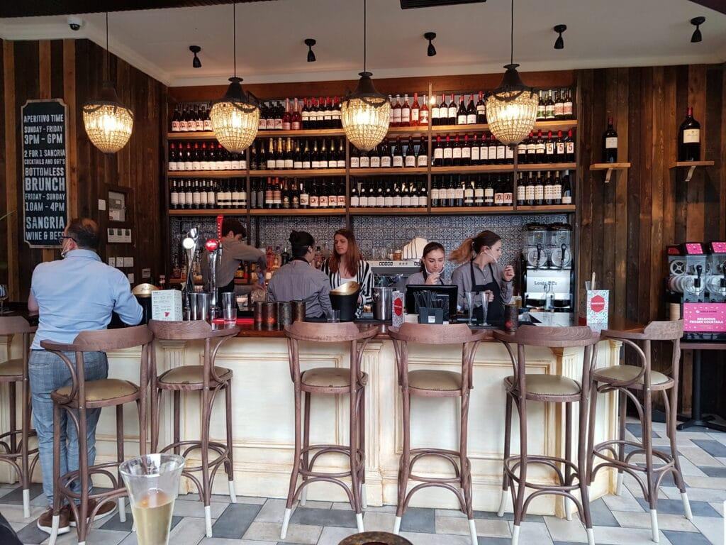 The bar inside Tapas Revolution Brighton
