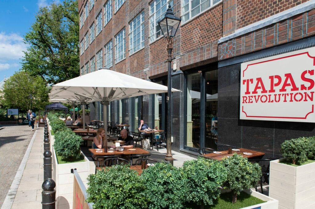 outdoor seating at tapas revolution