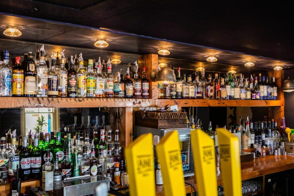 shelf with alcohol drinks