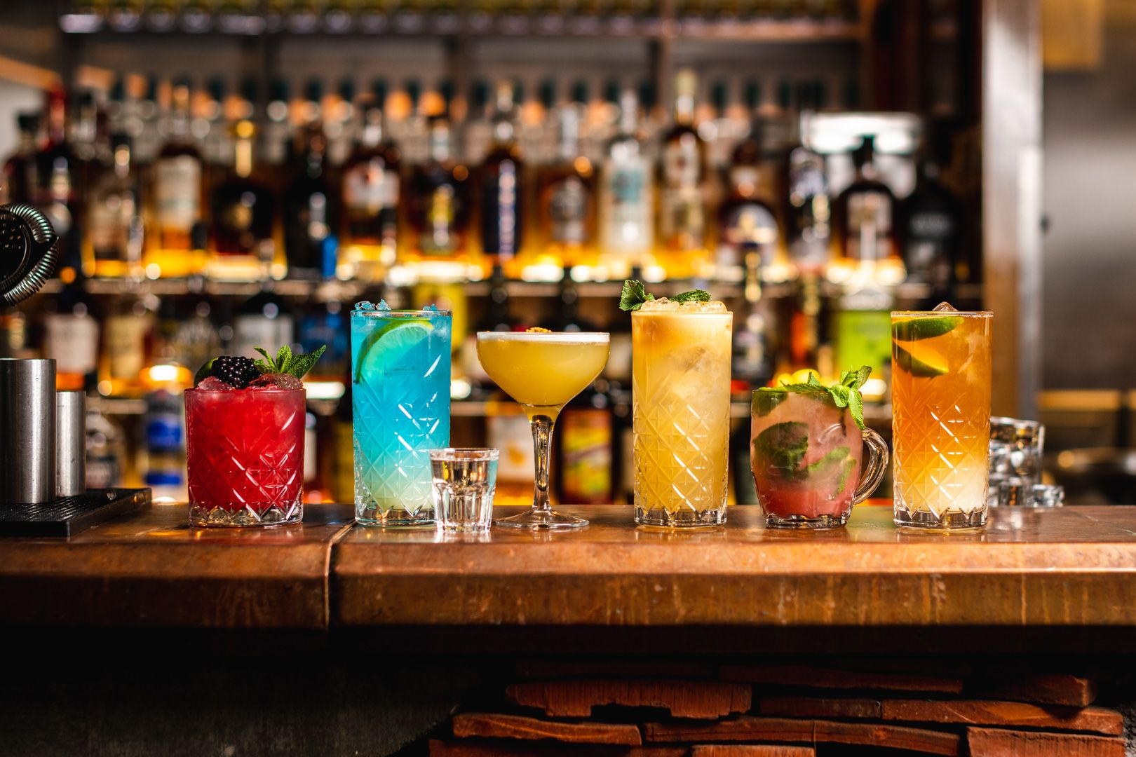 different cocktails on the bar table, rum kitchen